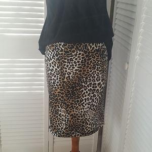 Banana Republic cheetah print pencil skirt sz 6